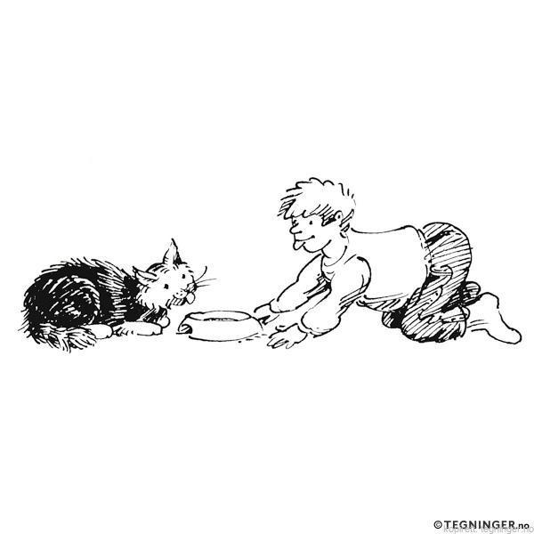 Barn leker katt - BARNEHAGE