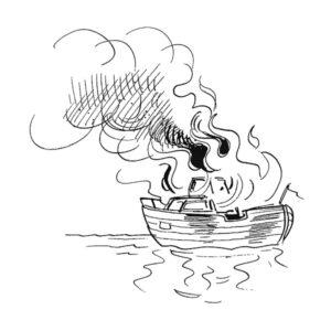 Brennende båt