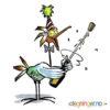 Festkledd fugl spretter Champagnen - DYR