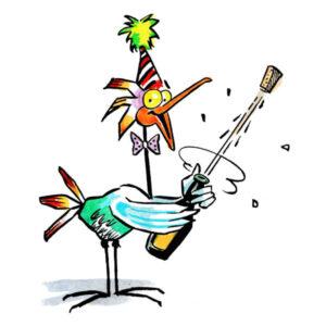 Festkledd fugl spretter Champagnen – DYR