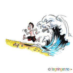 Liten gutt løper fra stor bølge – FERIE