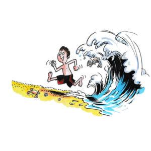Liten gutt løper fra stor bølge - FERIE