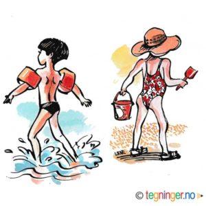 Barn på strand – FERIE