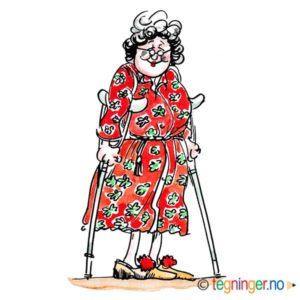Gammel dame med krykker – HELSE