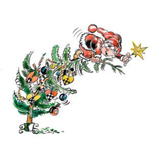 Julenissen pynter treet - JUL