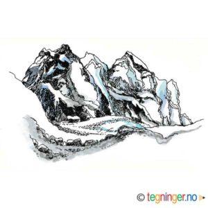 Fjell med isbre – NATUR