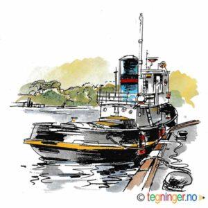 Slepebåt ved brygge – SERVICE
