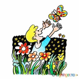 Gutt og sommerfugl i blomstereng – SOMMER