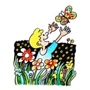 Gutt og sommerfugl i blomstereng - SOMMER