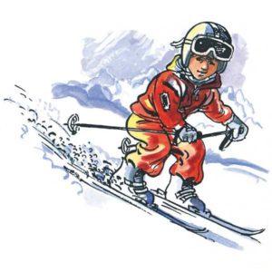 Barn på ski - Vinter