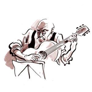 Gitarist med noter – MUSIKK